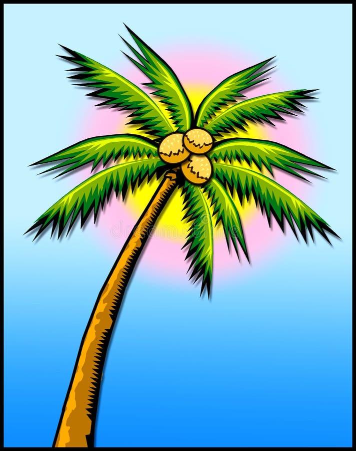 słońce palm tree lasów tropikalnych w royalty ilustracja