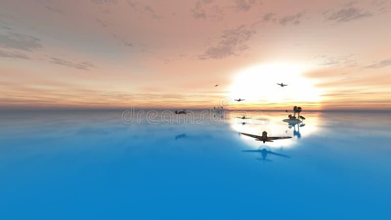 Słońce, piasek i samolot, royalty ilustracja