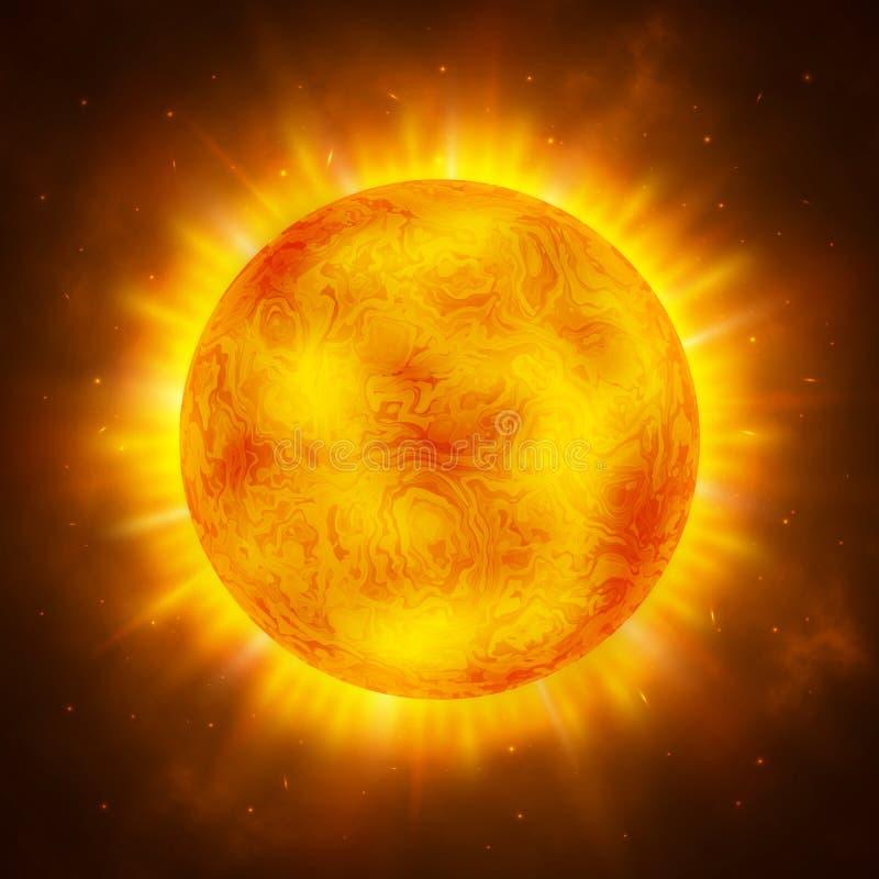 Słońce planeta Jaskrawy realistyczny słońce z promieniami, łuną i iskrami, światło słoneczne projekt Astronautyczny tło globalne  royalty ilustracja