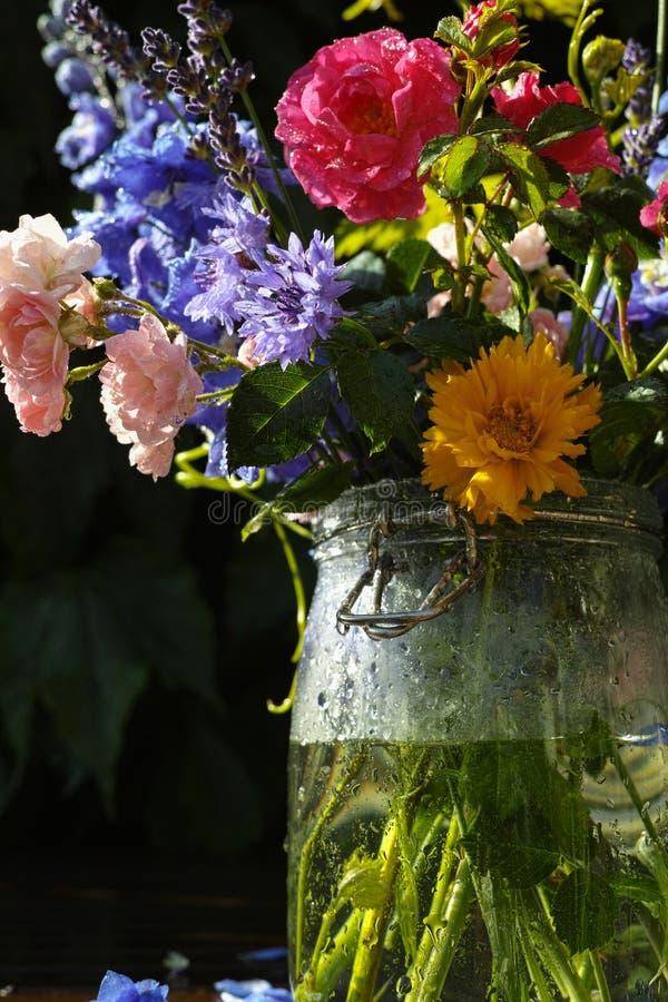Słońce po deszczu - kolorowy kwiatu bukiet w ogródzie obrazy stock