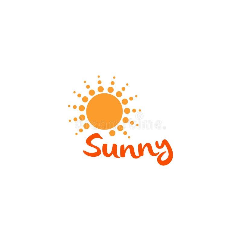 Słońce pomarańczowego koloru abstrakcjonistyczna prosta ikona Zaokrąglony pogodny okręgu kształt Letniego dnia symbol i wektoru l ilustracja wektor