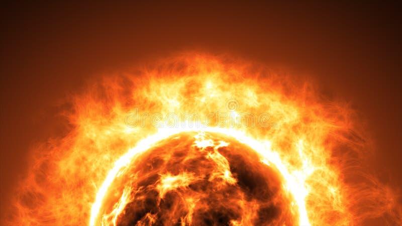 Słońce powierzchnia z słonecznymi racami naukowy abstrakcjonistyczny tło zdjęcia royalty free