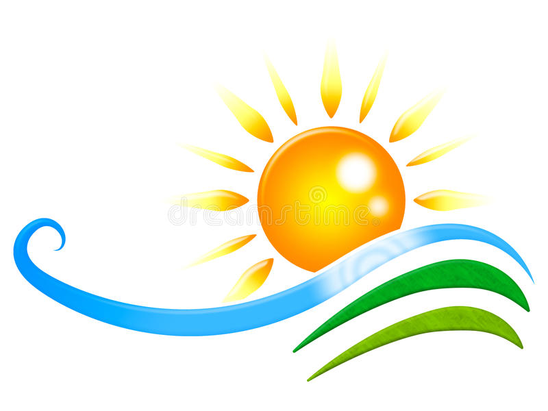 Słońce promieni przedstawień promieniowania projekt I fala royalty ilustracja