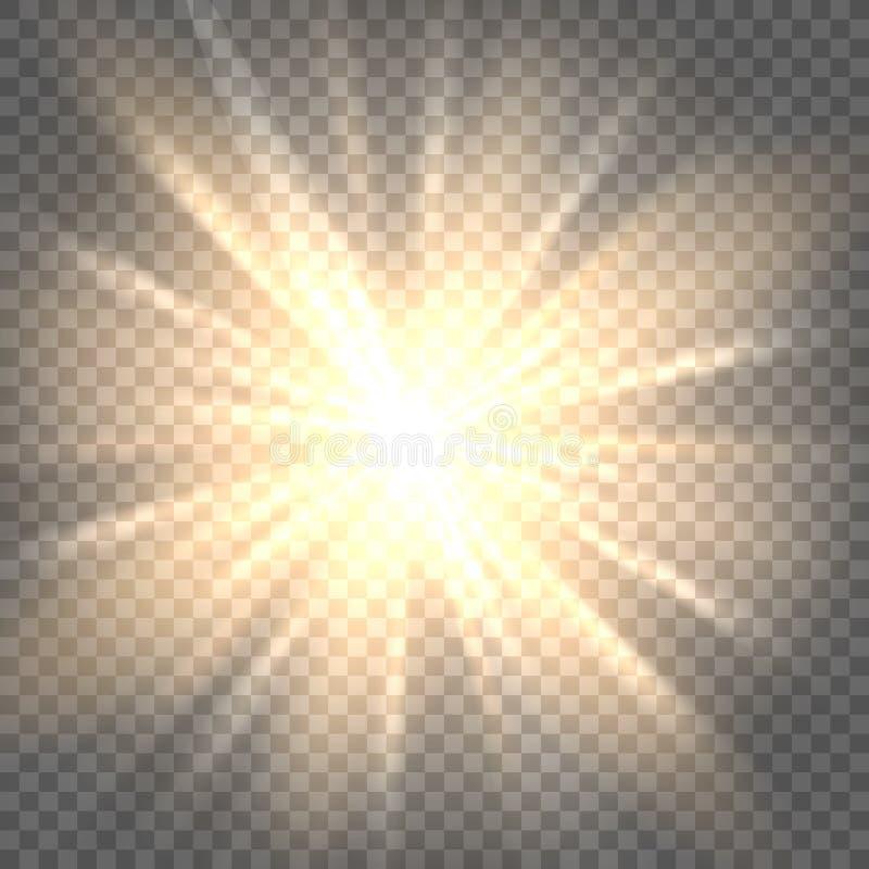 Słońce promienie na przejrzystym tle obraz stock