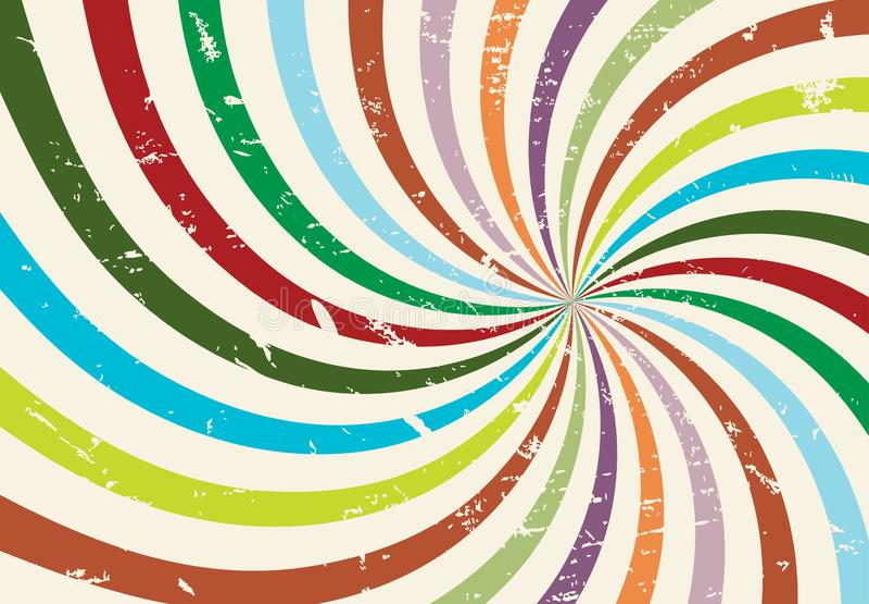 Słońce promienie z grunge teksturą Starburst paskował wektor spirali linie Promieniowy i hipis groovy retro tło Rocznika Sunburst royalty ilustracja