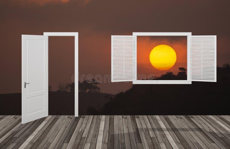 Słońce przy zmierzchem za otwarcia drzwi okno i, 3D obraz royalty free