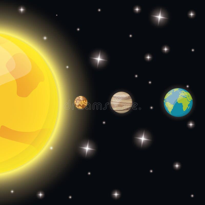 słońce rtęci venus ziemi gwiazd przestrzeń royalty ilustracja