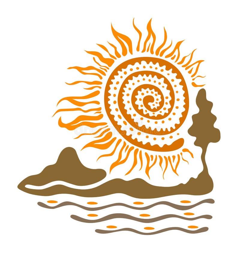 Słońce rzeka i góry royalty ilustracja