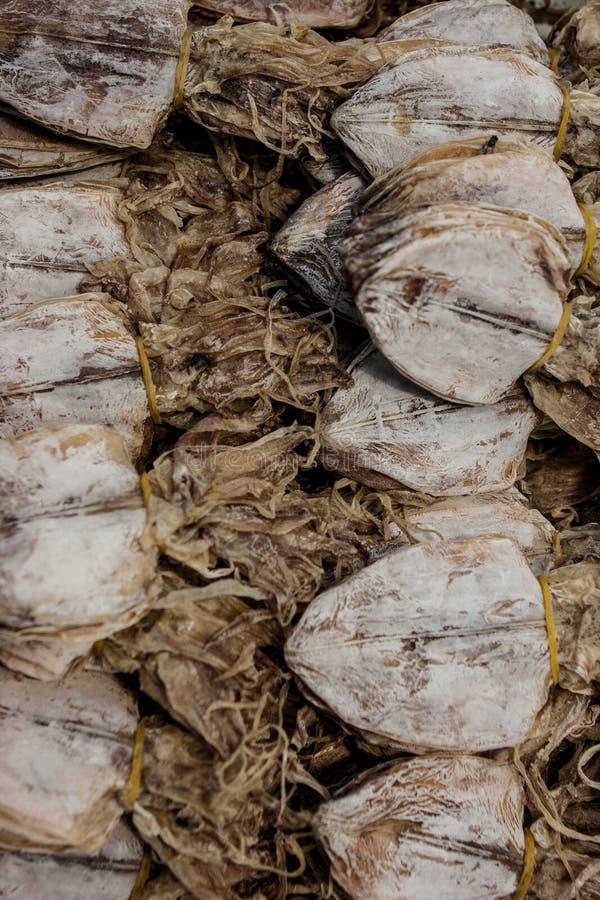 Słońce susząca kałamarnica sprzedawał przy ulicznym jedzenie kramem przy Chatuchak weekendu rynkiem, Bangkok, Tajlandia obrazy stock