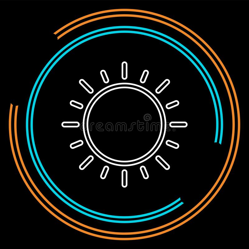 Słońce szyldowa ikona, wektorowy światło słoneczne, jaskrawy pogodny ilustracja wektor