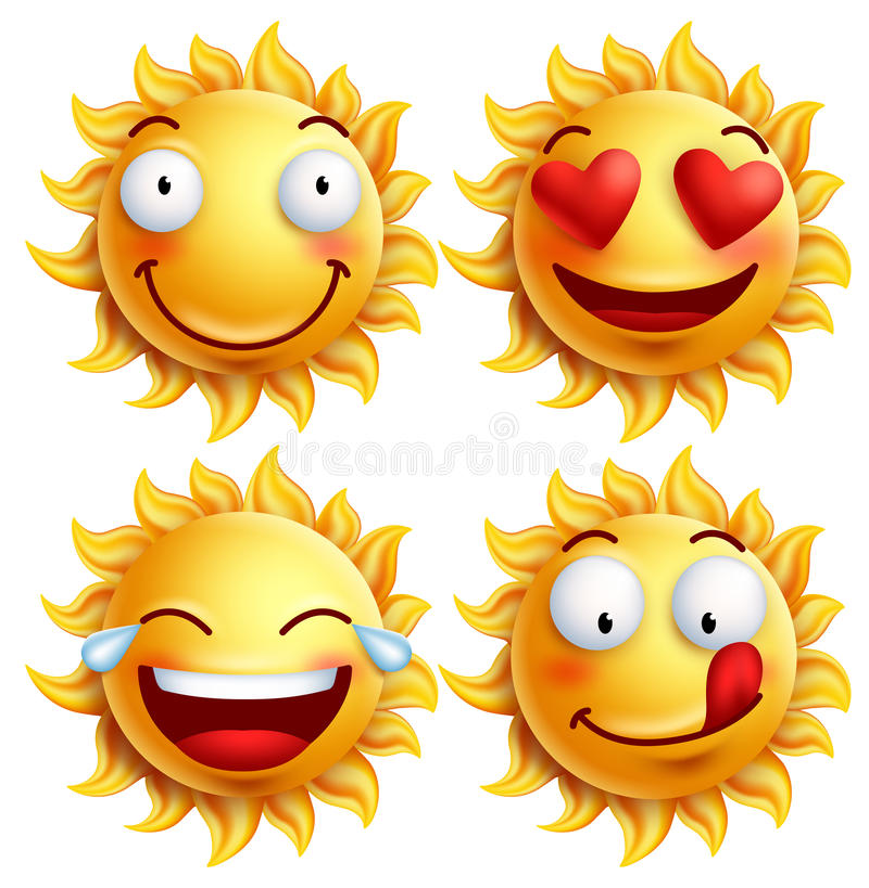 Słońce twarz z śmiesznymi wyrazami twarzy dla lata royalty ilustracja
