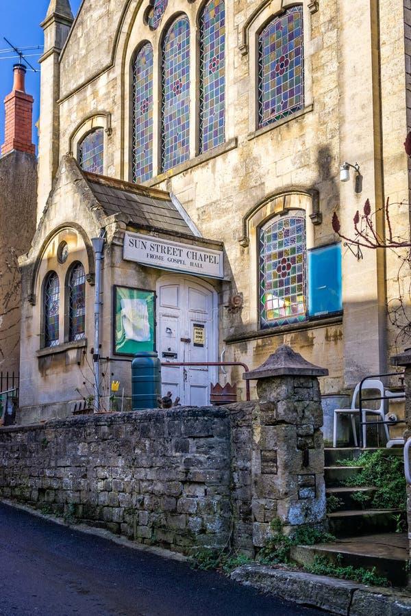Słońce Uliczna kaplica, Frome ewangelia Hall obrazy royalty free