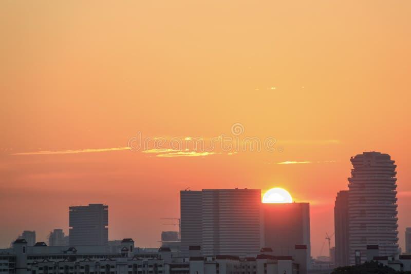 Słońce ustalony widok w Singapur obraz stock