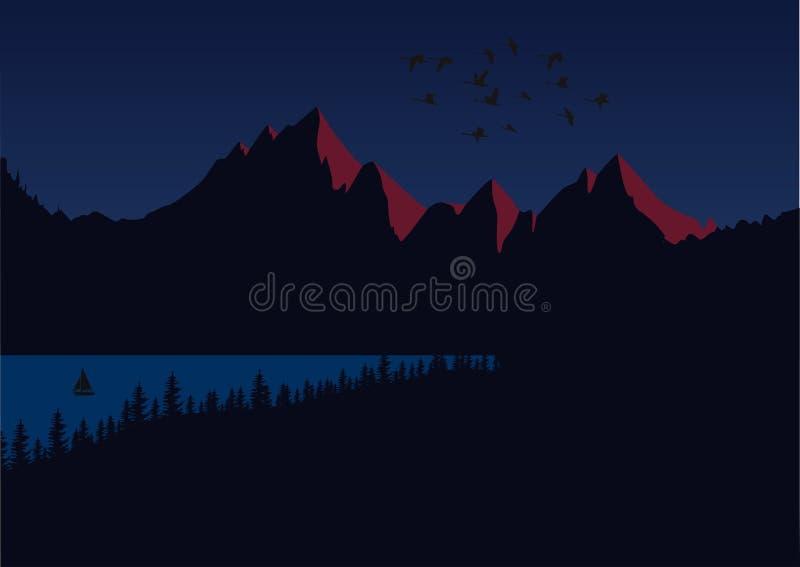 Słońce ustawia nad halnymi szczytami Zmroku krajobraz z jeziorem i osamotnioną łodzią ilustracja wektor