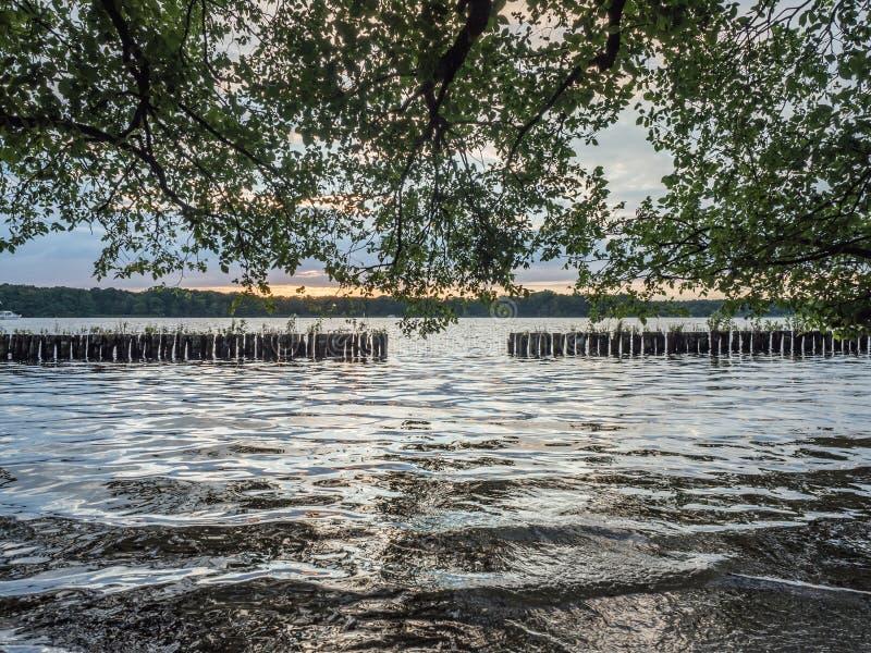 Słońce ustawia nad jeziorem w drewnach w lecie, obraz royalty free