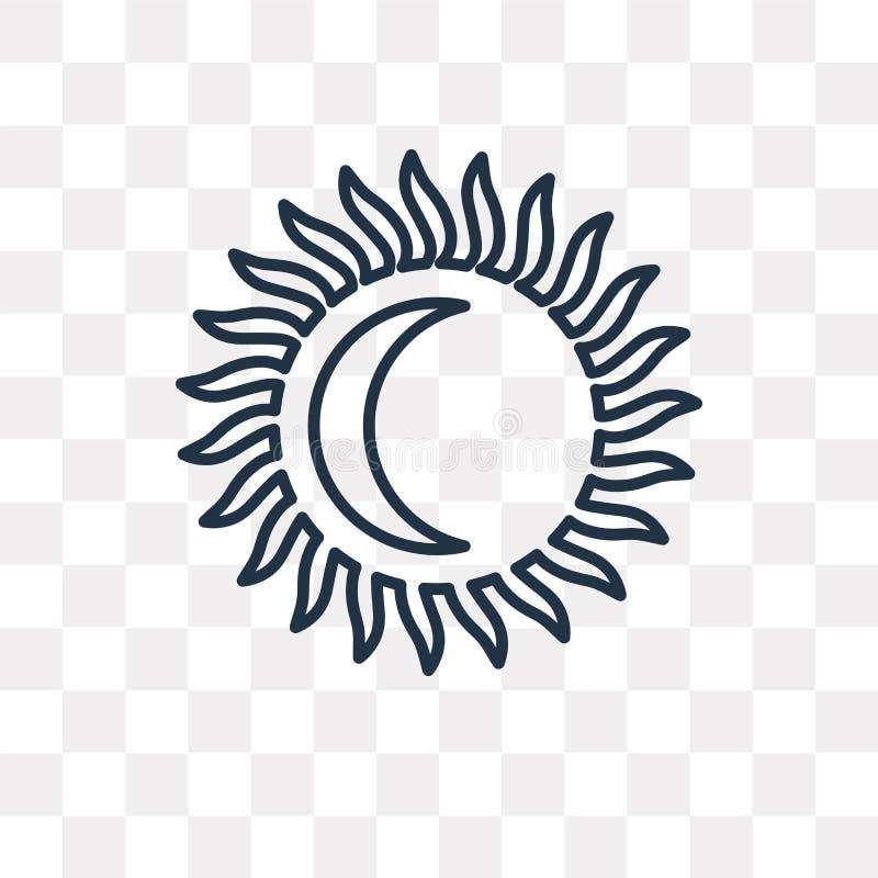 Słońce wektorowa ikona odizolowywająca na przejrzystym tle, liniowy słońce t ilustracja wektor
