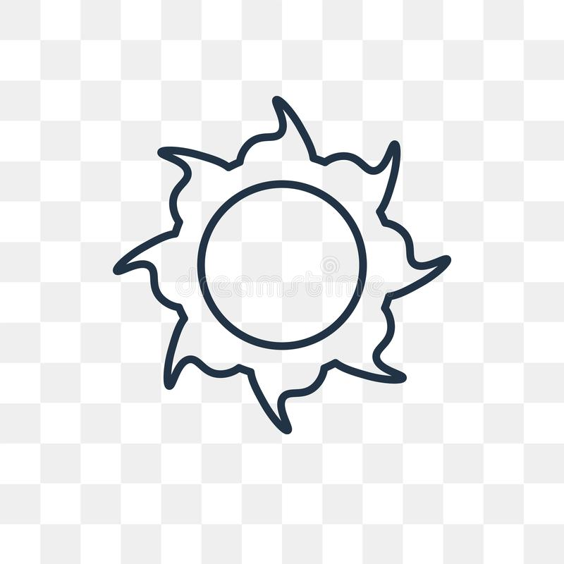 Słońce wektorowa ikona odizolowywająca na przejrzystym tle, liniowy słońce t royalty ilustracja