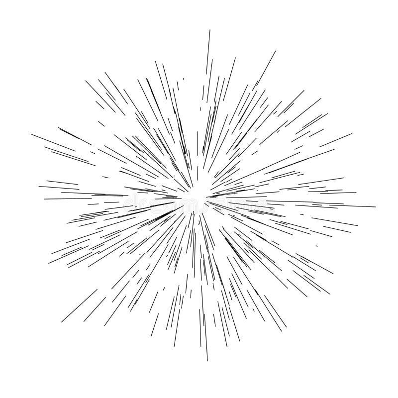 Słońce wybuch, gwiazdowy wybuchu światło słoneczne Promieniujący od centrum ciency promienie, linia wektoru ilustracja royalty ilustracja