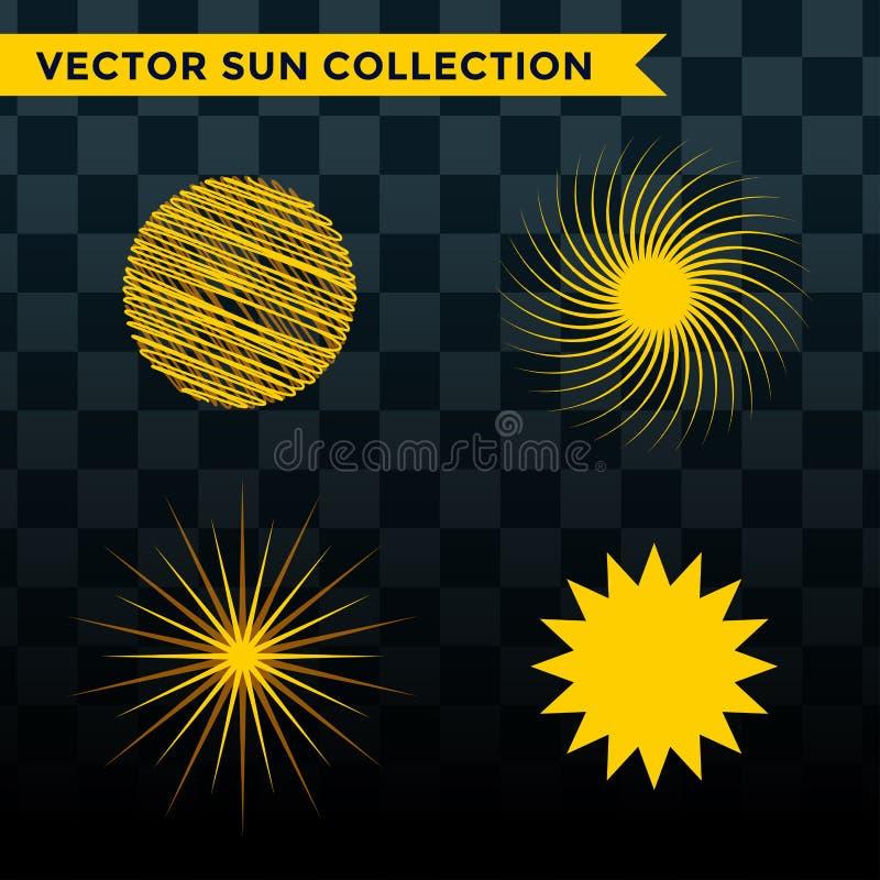 Słońce wybuchu gwiazdy ikony natury połysku światła słonecznego sunbeam iskry wschodu słońca ustalony wektorowy ilustracyjny lato ilustracja wektor