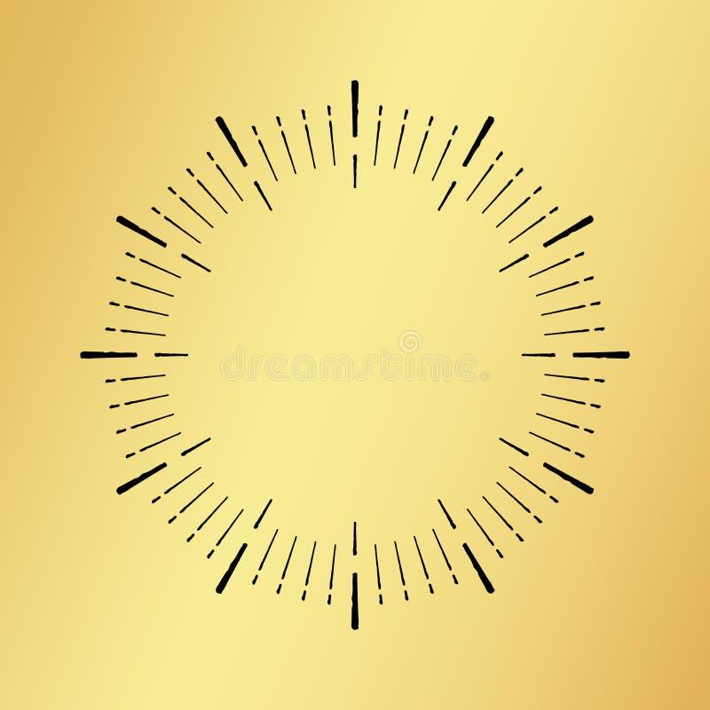 Słońce wybuchu rocznika zegarowy zegarek na złotym tle royalty ilustracja