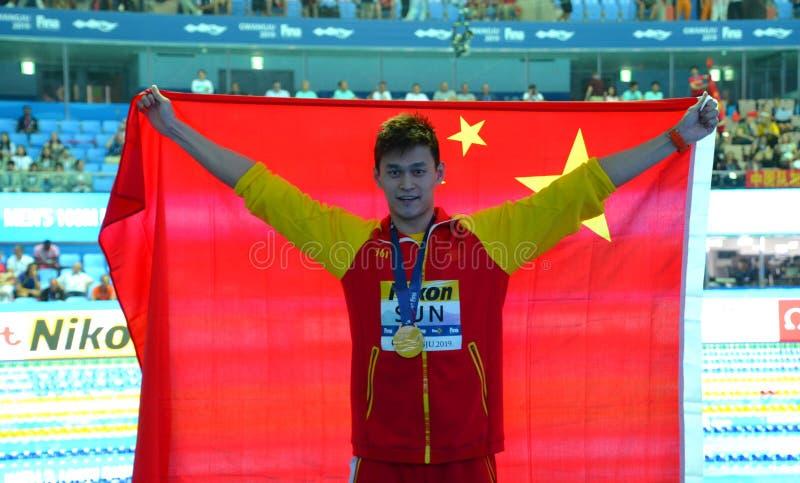 Słońce Yang CHN świętuje jego wygranie zdjęcia stock