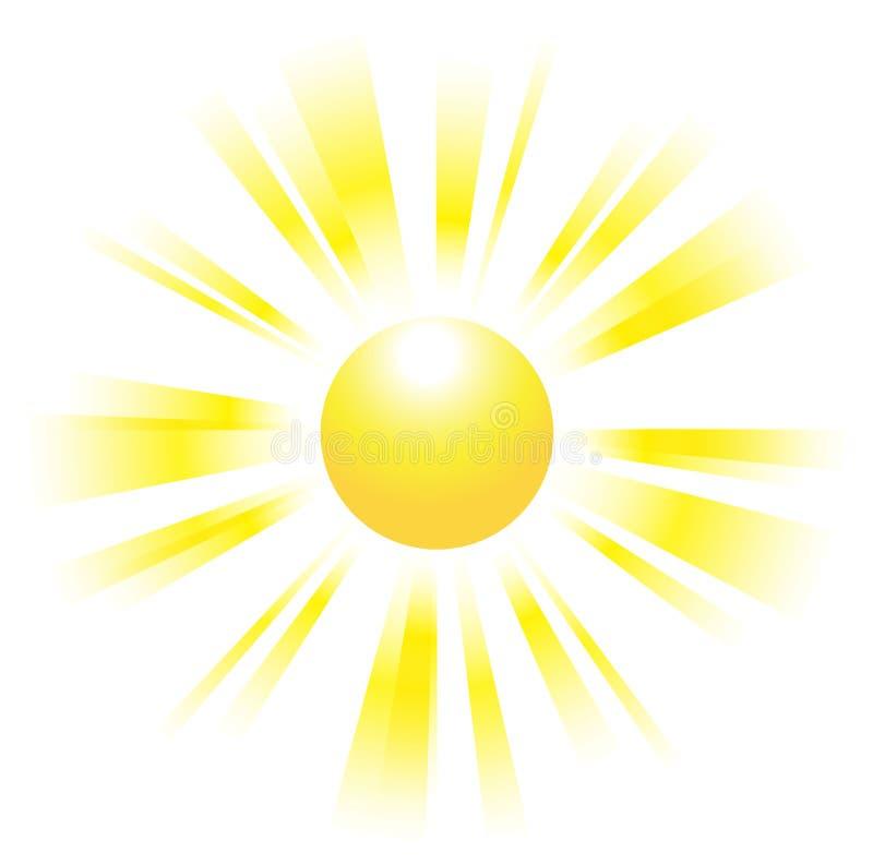 Słońce z żółtymi fadingów promieniami royalty ilustracja