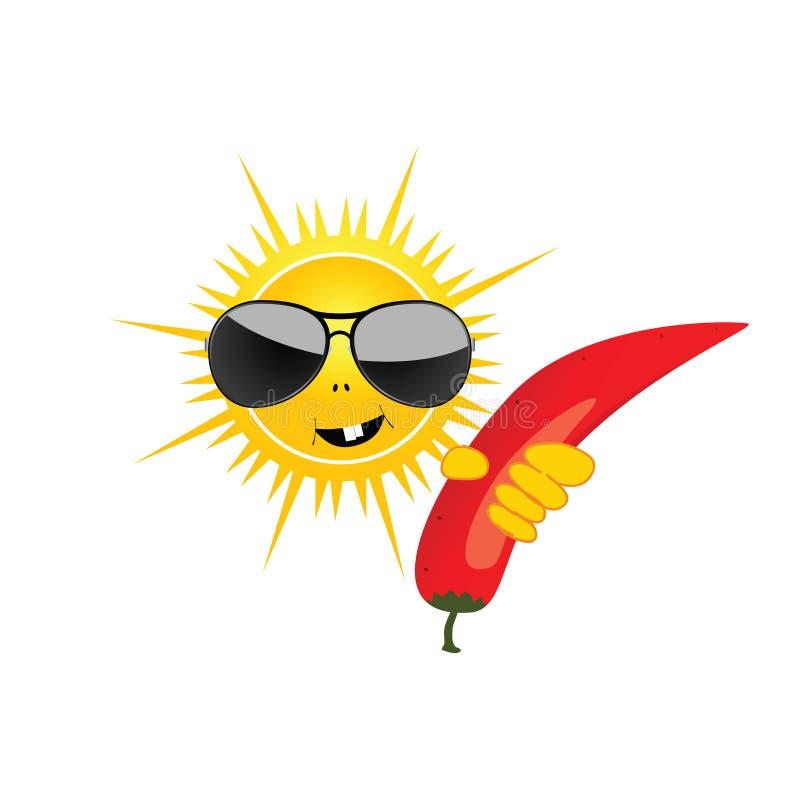 Słońce z chillies wektoru ilustracją ilustracji