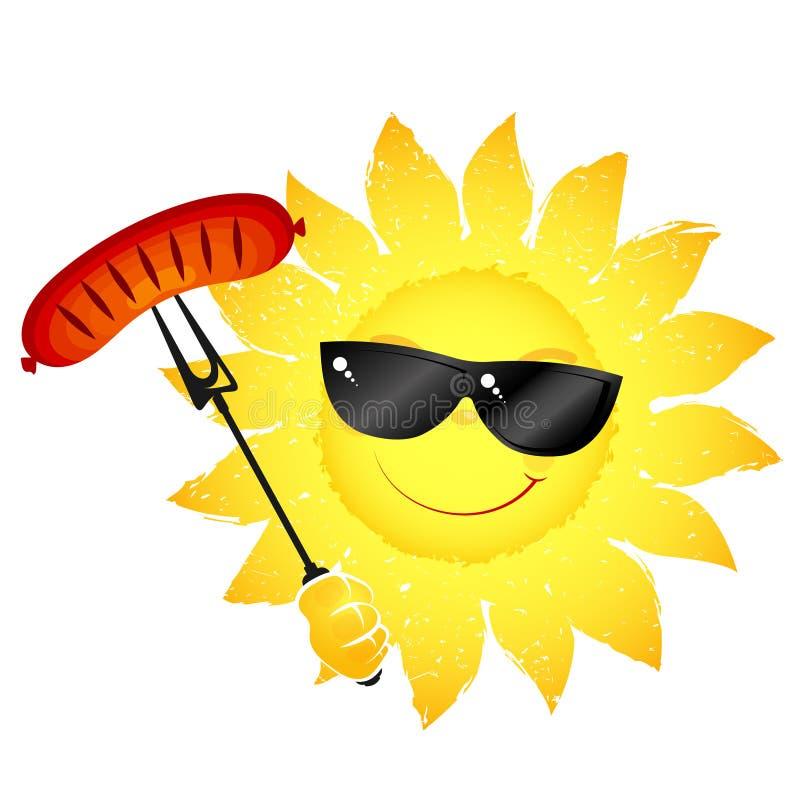 Słońce z kiełbasianym grillem ilustracji
