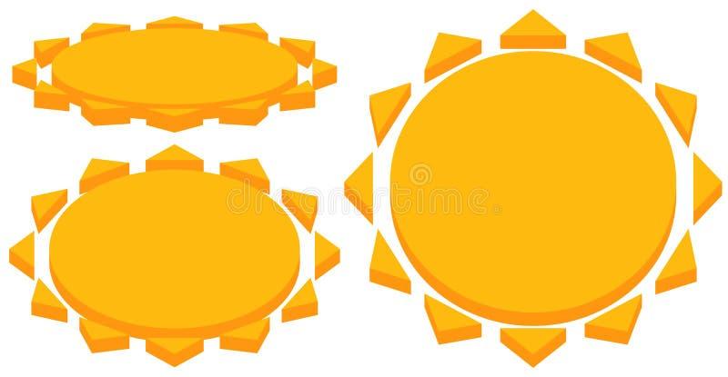 Słońce z korony słonecznej ikoną Prosta geometryczna klamerki sztuka royalty ilustracja