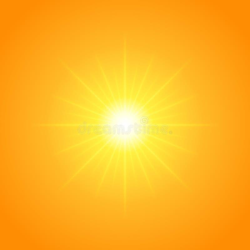 Słońce z obiektywu racą zaświeca szablon i tło ilustracja wektor