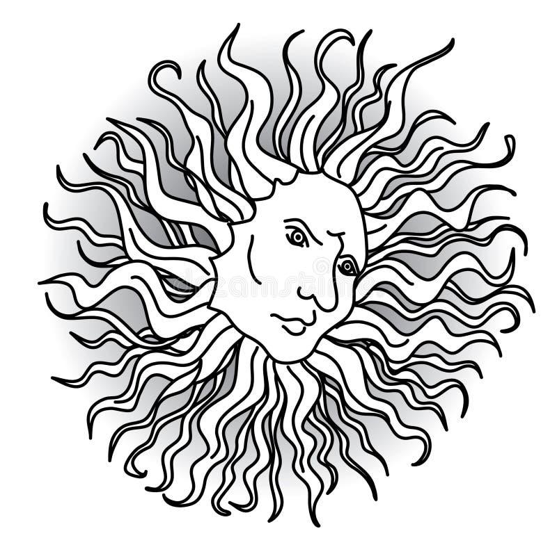 Słońce z twarzami w renesansu stylu fotografia stock