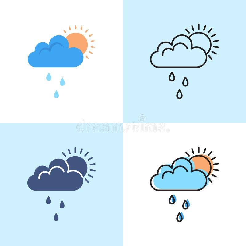Słońce za chmurą z podeszczową ikoną ustawiającą w płaskich i kreskowych stylach ilustracji
