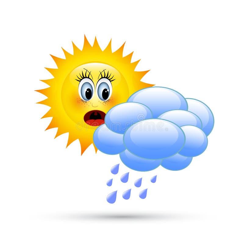 słońce za chmury royalty ilustracja