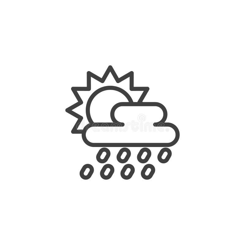 Słońce za podeszczowej chmury linii ikoną ilustracji