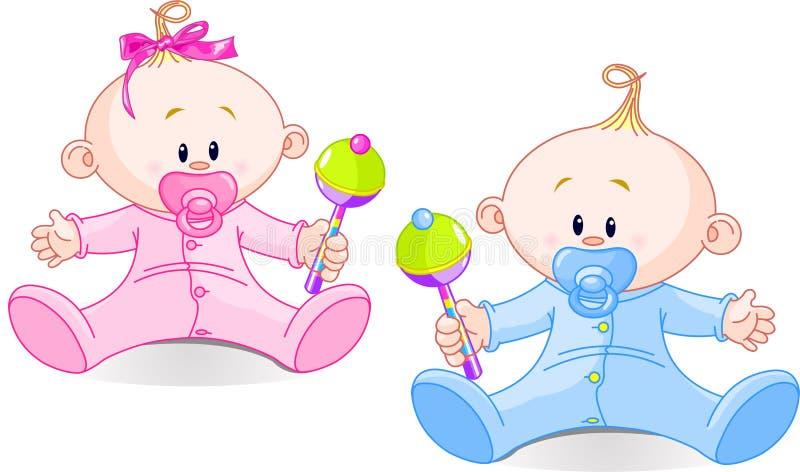 słodcy bliźniacy ilustracja wektor