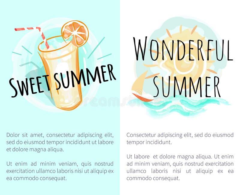 Słodcy Cudowni lato plakaty z Świeżym napojem ilustracji