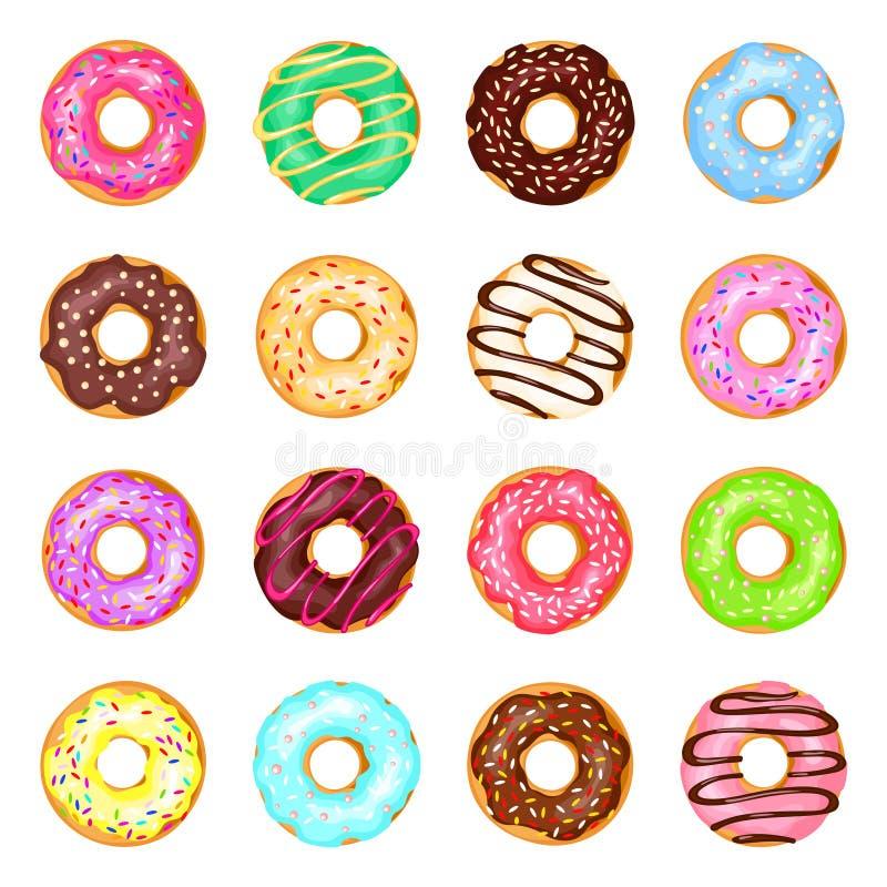 Słodcy donuts ustawiający ilustracja wektor
