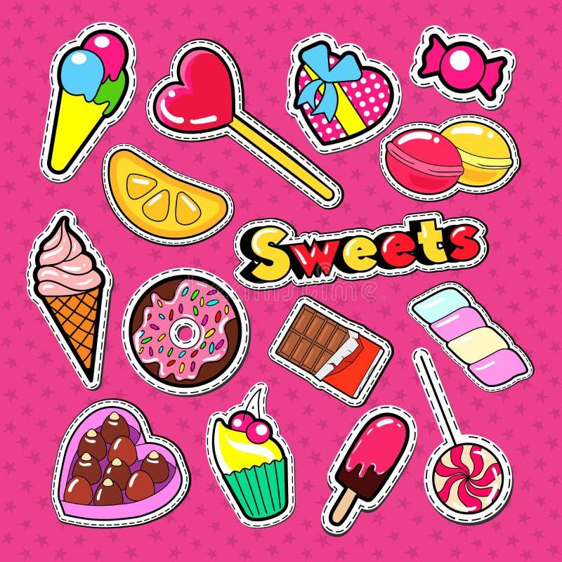 Słodcy Karmowi majchery, odznaki i łaty, Piekarni i cukierków Doodle ilustracja wektor