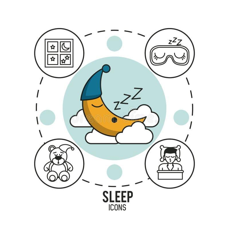 Słodcy sen i dobry sen infographic ilustracja wektor