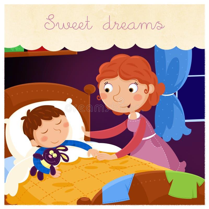Słodcy sen mój śliczna chłopiec - Urocza kolorowa ilustracja ilustracja wektor