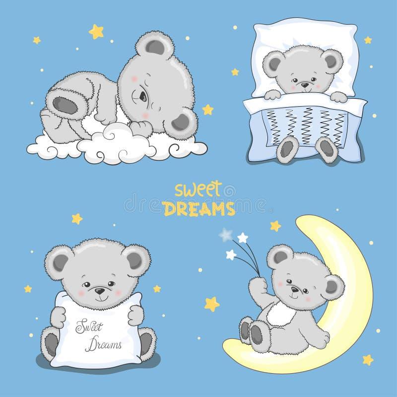Słodcy sen ustawiający z ślicznymi sypialnymi misiami ilustracji