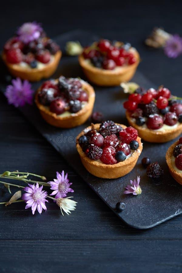 Słodcy tarts z waniliowym custard i jagodami obrazy royalty free