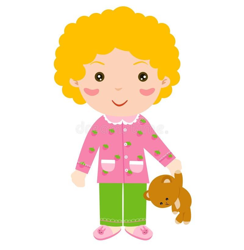 słodką niedźwiedziej dziewczyny teddy, ilustracja wektor