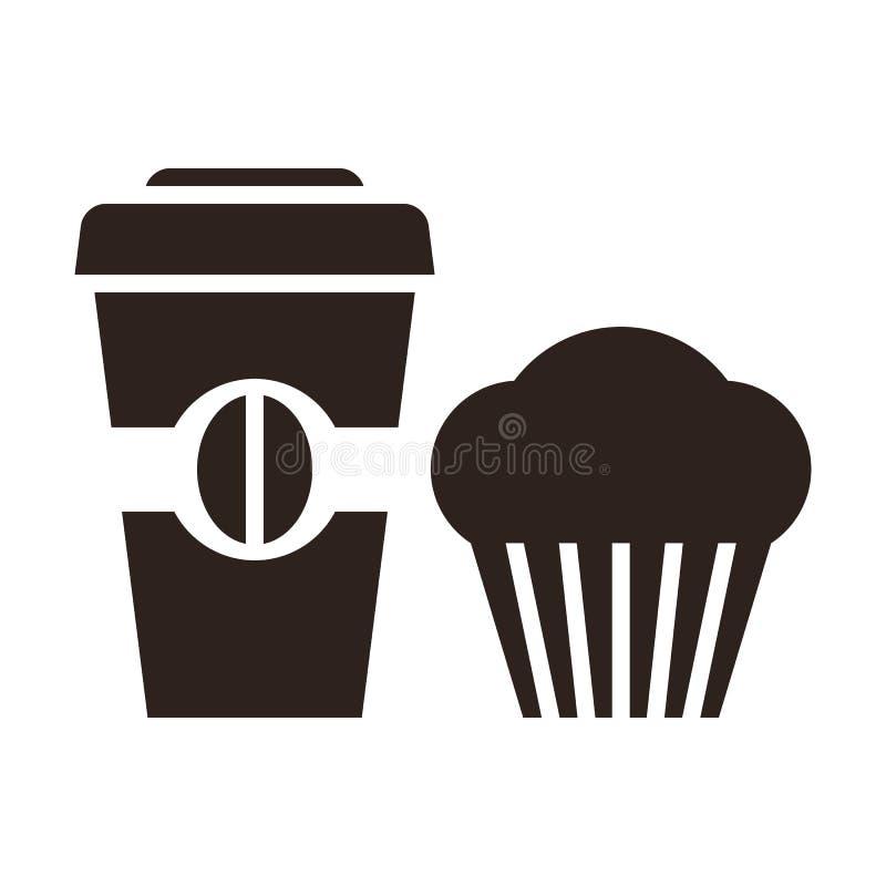 Słodka bułeczka i kawa iść ikona ilustracja wektor