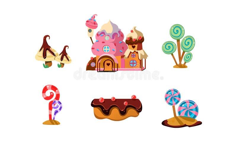 Słodka cukierek ziemia, śliczni kreskówka elementy fantazja krajobraz dla mobilnego gemowego projekta interfejsu wektorowej ilust ilustracja wektor