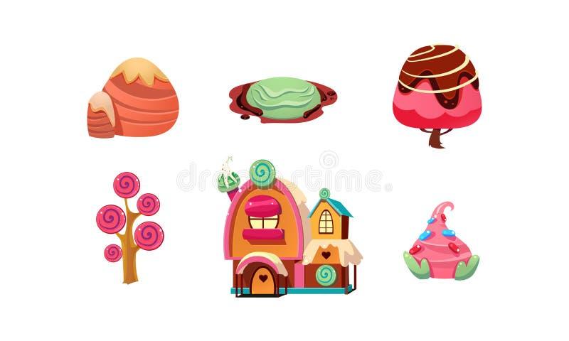 Słodka cukierek ziemia, śliczni kreskówki fantazi elementy dla mobilnego gemowego projekta interfejsu, słodkie rośliny, drzewa, p royalty ilustracja
