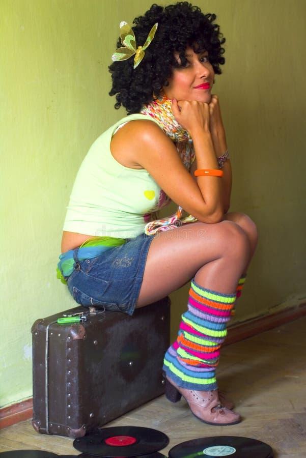 słodka dziewczyna kędzierzawa disco obrazy stock