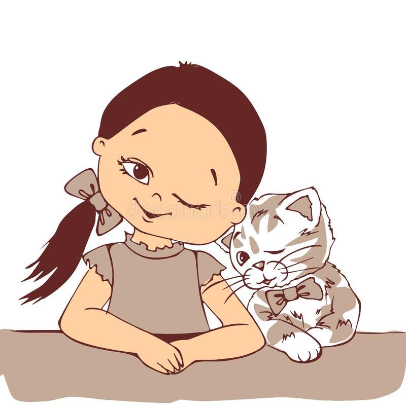 Słodka dziewczynka i słodki kociak mruczące razem, słodka dziewczynka, słodki kociak, kociak, zwierzę, dziecko, właściciel zwierz royalty ilustracja