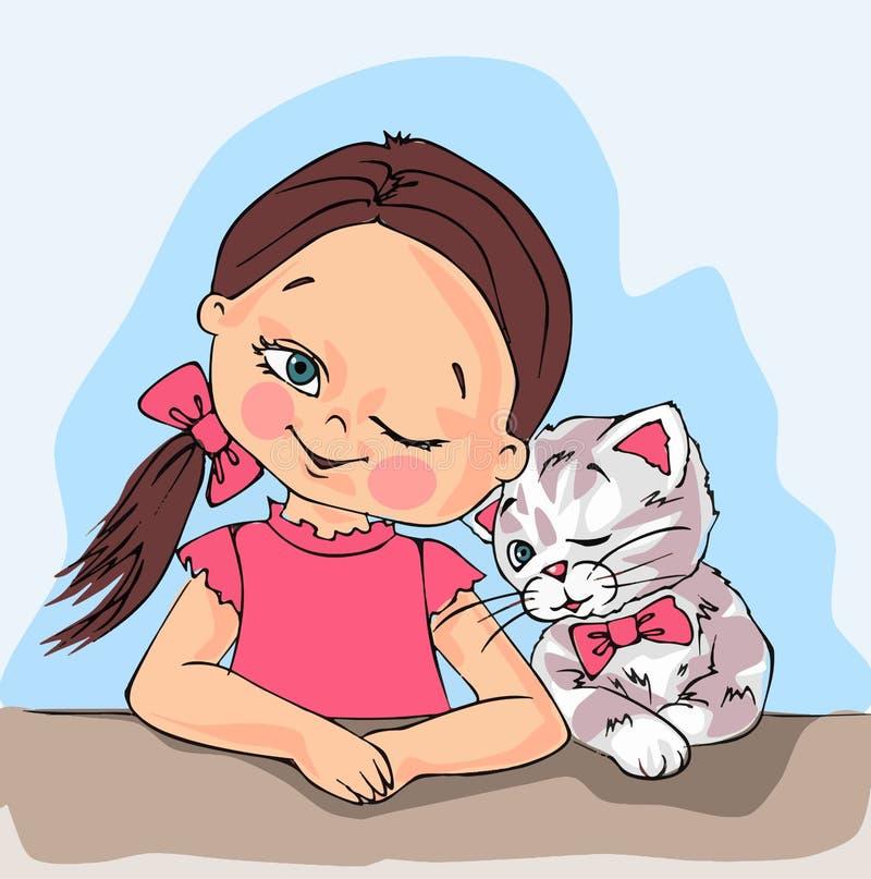 Słodka dziewczynka i słodki kociak mruczące razem, słodka dziewczynka, słodki kociak, kociak, zwierzę, dziecko, właściciel zwierz ilustracja wektor