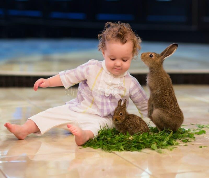 Słodka dziewczynka z kędzierzawym włosy z dwa królikami zdjęcie royalty free